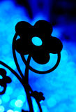 Blaues backlit Blumensilouhette Lizenzfreie Stockfotografie