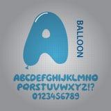 Blaues Ballon-Alphabet und Zahl-Vektor Stockfotografie