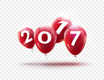 Blaues Ballondesign des guten Rutsch ins Neue Jahr 2017 Grußkarte mit Blau steigt Feierdekoration auf transparentem im Ballon auf Stockfoto