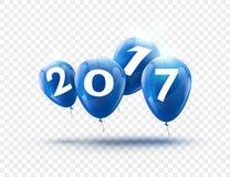 Blaues Ballondesign des guten Rutsch ins Neue Jahr 2017 Grußkarte mit Blau steigt Feierdekoration auf transparentem im Ballon auf Lizenzfreie Stockfotografie