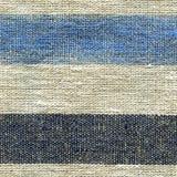 Blaues, beige, graues Streifenmuster auf Leinengewebe Stockbilder