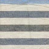 Blaues, beige, graues Streifenmuster auf Leinengewebe Lizenzfreie Stockfotos
