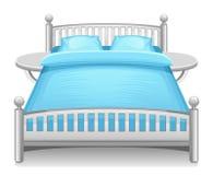 Blaues Bett Lizenzfreie Stockbilder