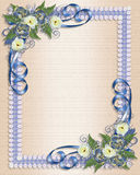 Blaues Blumen der Hochzeitseinladung Lizenzfreies Stockbild