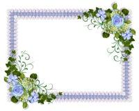 Blaues Blumen der Hochzeitseinladung Lizenzfreie Stockbilder