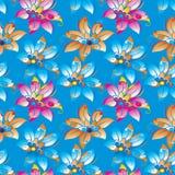 Blaues Blumenhintergrundmuster im Vektor Lizenzfreie Stockfotografie
