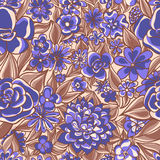 Blaues Blumenmuster Lizenzfreies Stockbild