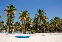 Blaues Boot auf dem Pangane Strand Lizenzfreie Stockfotos