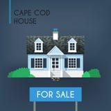 Blaues Cape- CodLandhaus Stockfoto