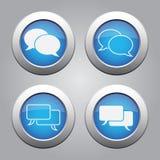 Blaues Chrom knöpft Satz-weiße Spracheblasenikonen lizenzfreie abbildung