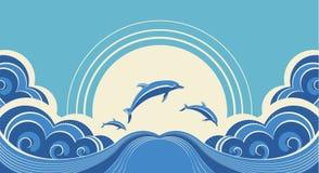 Blaues Delphinspringen lizenzfreie abbildung