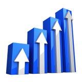Blaues Diagramm 3D mit weißen Pfeilen Stockfotos