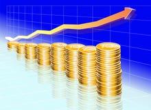 Blaues Diagramm mit goldenen Münzen Stockfotografie