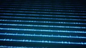 Blaues digitales Audio bewegt auf Schirm wellenartig Stockfotos