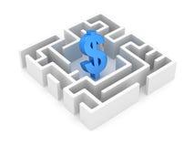 Blaues Dollar-Symbol im weißen Labyrinth stock abbildung