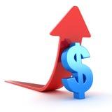 Blaues Dollar-Symbol und roter Pfeil vektor abbildung