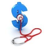 Blaues Dollar-Symbol und rotes Stethoskop lizenzfreie abbildung