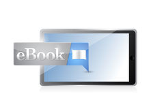Blaues Download des Tablette Ebook-Ikonen-Knopfes Lizenzfreie Stockbilder