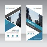 Blaues Dreieck Geschäft rollen oben flache Designschablone der Fahne, Fahnenschablone Vektor-Illustrationssatz der Zusammenfassun Stockbild