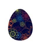 Blaues Ei mit Blumen-Muster vektor abbildung