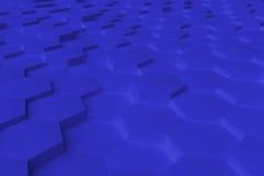 Blaues einfarbiges Hexagon deckt abstrakten Hintergrund mit Ziegeln Stockfoto