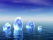 Blaues Eis in einem Ozean Stockfotografie