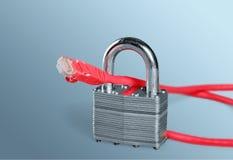 Blaues Ethernet-Kabel, das ein Vorhängeschloß formt Lizenzfreies Stockbild