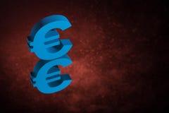 Blaues EU-Währungszeichen oder Zeichen mit Spiegel-Reflexion auf rotem Dusty Background stockfotos