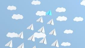 Blaues Führerflugzeugfliegen mit Weiß stock footage