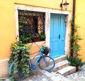 Blaues Fahrrad und Blumen stockfotografie