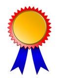 Blaues Farbband der goldenen Sieger Medaille Lizenzfreies Stockbild