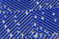 Blaues Farblabyrinth Schließen Sie herauf Bild der Wiedergabe 3D auf weißem Hintergrund Lizenzfreie Stockbilder