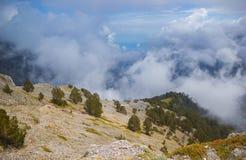 Blaues Fenster im Gebirgshimmel und in den großen Wolken-Natur-Landschaftsgrün-Kiefern lizenzfreie stockfotos