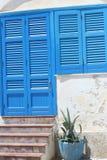 Blaues Fenster und blaue Tür Lizenzfreies Stockbild