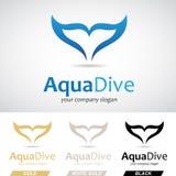 Blaues Fisch-Endstück Logo Icon Lizenzfreies Stockfoto