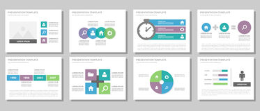 Blaues flaches Design der purpurroten und grünen Vielzweckbroschürenfliegerbroschürenwebsite-Schablone Lizenzfreie Stockbilder