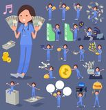 Blaues Flachwomen_money Abnutzung der chirurgischen Operation Stockfotografie