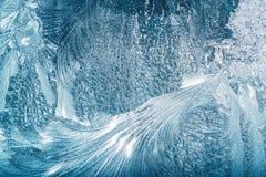 Blaues Frosty Glass Ice Background, natürliche schöne Schneeflocken Frost Lizenzfreies Stockfoto