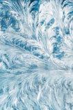 Blaues Frosty Glass Ice Background, natürliche schöne Schneeflocken Frost Stockfotografie