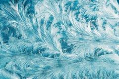 Blaues Frosty Glass Ice Background, natürliche schöne Schneeflocken Frost Stockbild