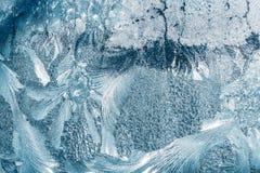 Blaues Frosty Glass Ice Background, natürliche schöne Schneeflocken Frost Lizenzfreie Stockbilder