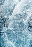 Blaues Frosty Glass Ice Background, natürliches schönes Schneeflocken-Frost-Eis-Muster Lizenzfreie Stockfotografie