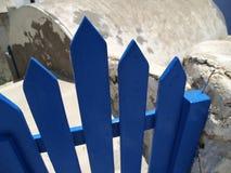 Blaues Gatter auf Santorini Insel Stockfoto