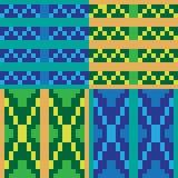 Blaues Gelb der Musterpixel-Kunst Stockbilder