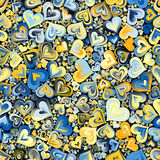Blaues gelbes Herz-Mosaik-nahtloser Hintergrund stockbilder