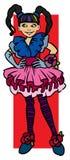 Blaues gemustertes Mädchen Lizenzfreies Stockbild