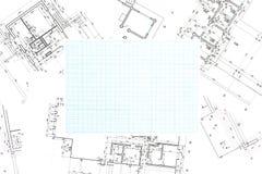 Blaues GitterZeichenpapier mit Maßeinteilung mit Planhintergrund Stockfoto