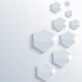 Blaues glänzendes, glattes Plastikhexagon auf Blau Stockfoto