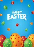Blaues glückliches Ostern-Plakat mit bunten Eiern Fallende Easter Egg-Hintergrund Vektorillustration lizenzfreie abbildung