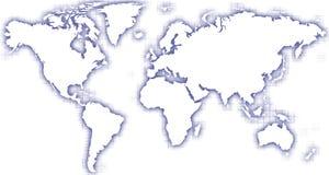 Blaues Glühen der Weltkarte lizenzfreie abbildung